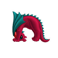 Print 5x7 Dragon Baby n, in holiday colors  by Sue Ellen Brown