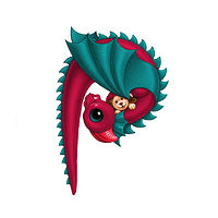 Print 5x7 Dragon Baby p, in holiday colors  by Sue Ellen Brown