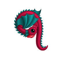 Print 5x7 Dragon Baby q, in holiday colors  by Sue Ellen Brown