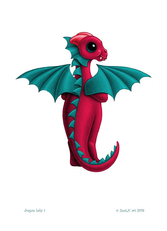 Print 5x7 Dragon Baby t, in holiday colors  by Sue Ellen Brown