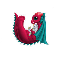 Print 5x7 Dragon Baby u, in holiday colors  by Sue Ellen Brown