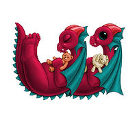 Print 5x7 Dragon Baby w, in holiday colors  by Sue Ellen Brown