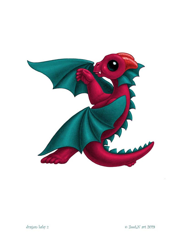 Print 5x7 Dragon Baby z, in holiday colors  by Sue Ellen Brown