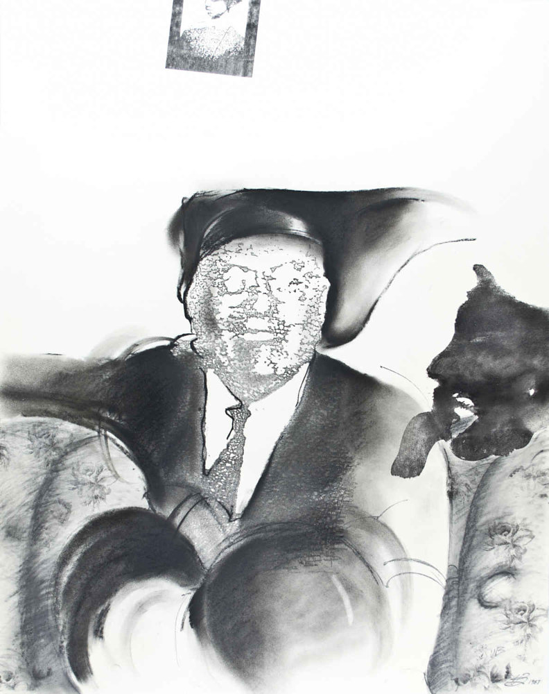 Mixed-media artwork Uncle Percy (and the Black Dog) by Will Bushell