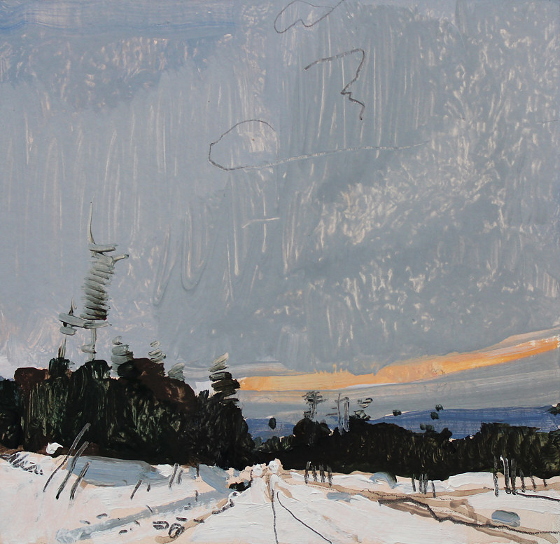Acrylic painting Dusk, December 2 by Harry Stooshinoff
