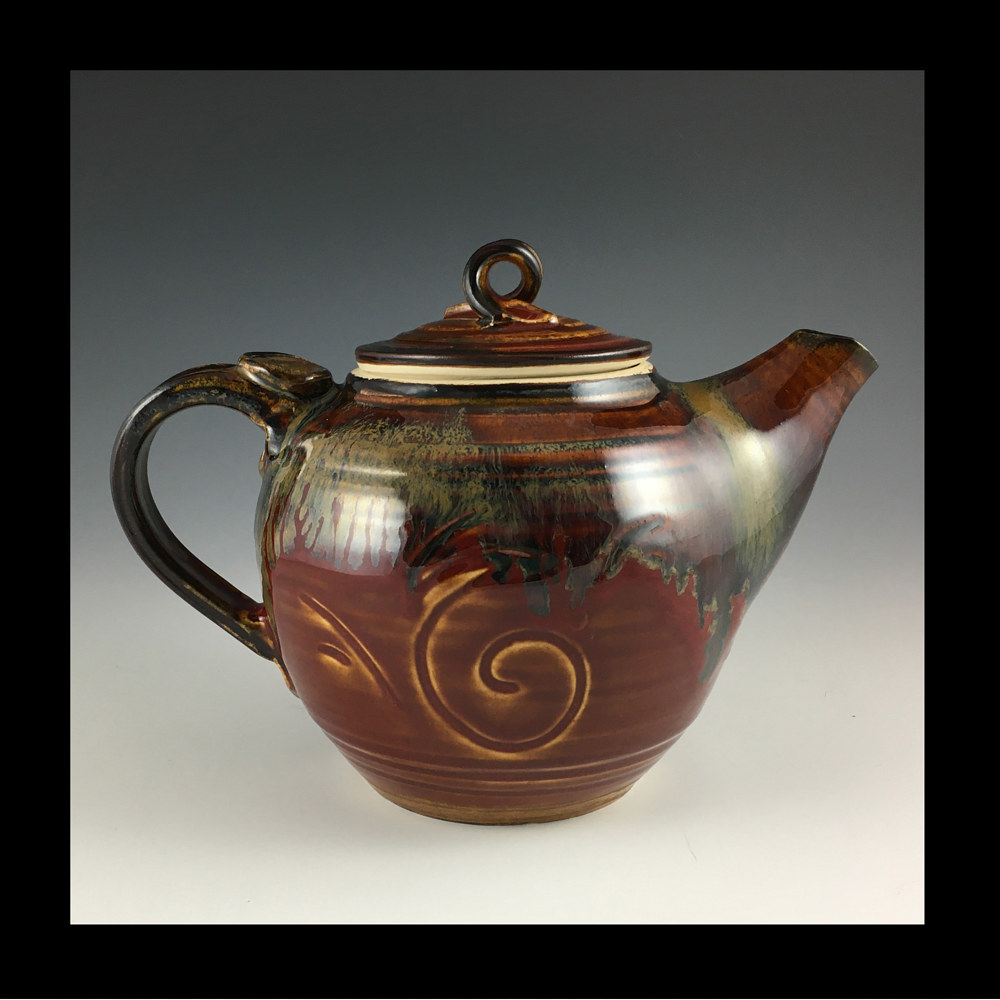 red 6 inch teapot by Elaine Clapper