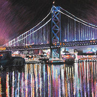 Drawing Philadelphia's Benjamin Franklin Bridge  by David Eater