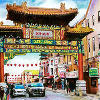 Watercolor Philadelphia's Chinatown  by David Eater