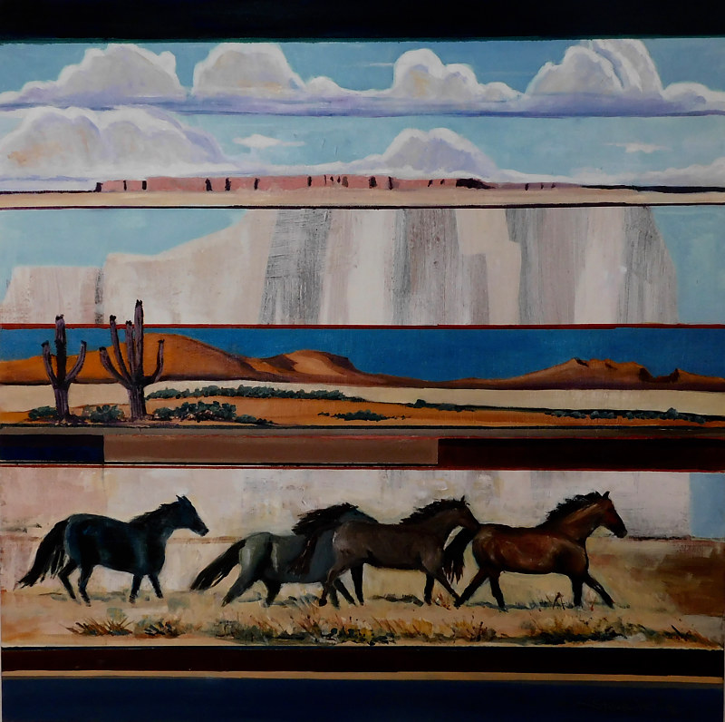Oil painting Wild Horses  by Steve Latimer