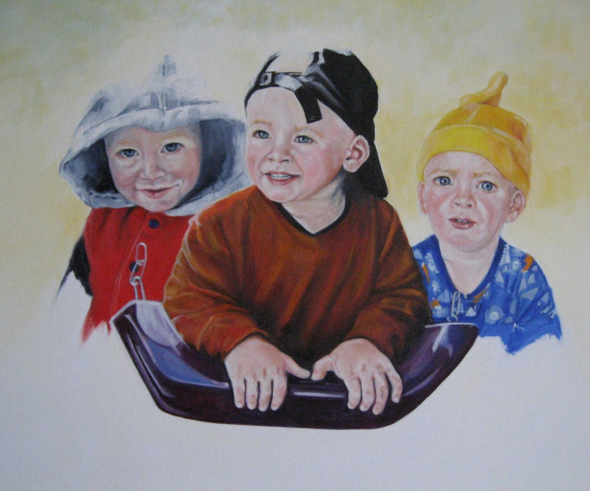 Oil painting Leif Times Three by Judith  Elsasser