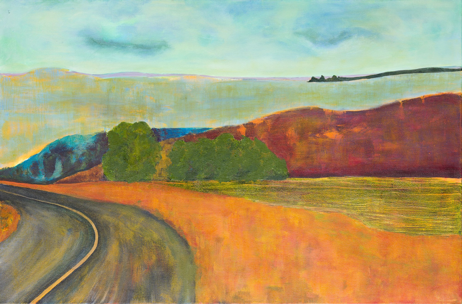 "Oil painting ""Glow Around The Bend"" Available by carol Ross"