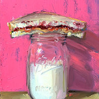 """PBJ & Jar of Milk (pink & gold)"" by Noah Verrier"