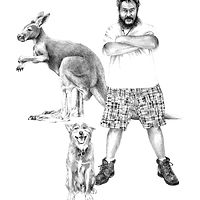 Drawing Kangaroo and Big God Nqong by Ellen Cornett