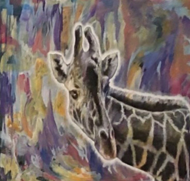 Giraffe on Abstract by Elizabeth Mercer