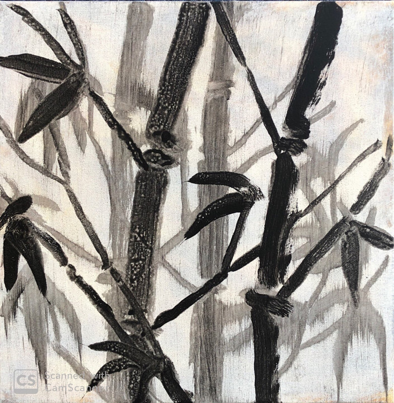 Bamboo-Black on White by Elizabeth Mercer