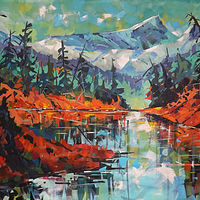 Thanksgiving Hair Trigger Lake  Acrylic    24x48 2019 by Brian  Buckrell