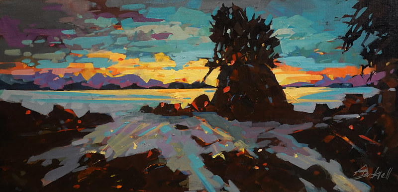 Coastal Sunset  15x30 Acrylic 2019 by Brian  Buckrell
