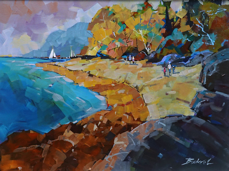 A Day at Hornby Island   Acrylic 18x24 2019 by Brian  Buckrell