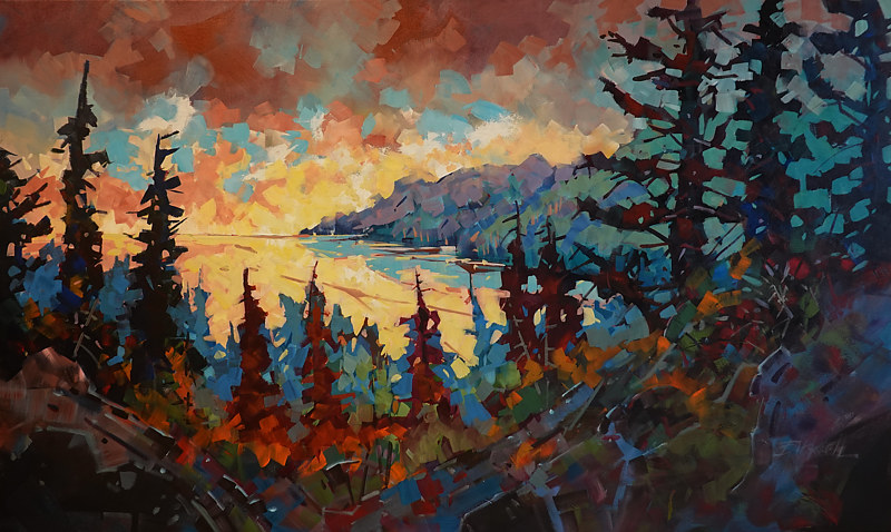 Above Superior  Acrylic 36 x 60 2019 by Brian  Buckrell