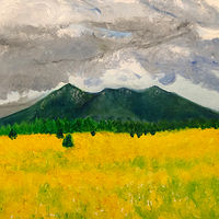 Print Fall sunflowers and the peaks by Frederica  Hall