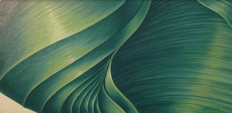 Oil painting Rushing Greens and Blues by Sue Ellen Brown