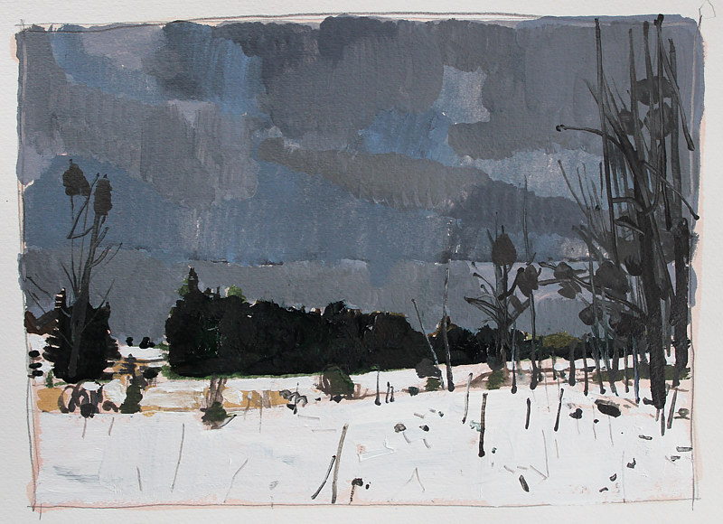Acrylic painting Back Acres, January 1 by Harry Stooshinoff