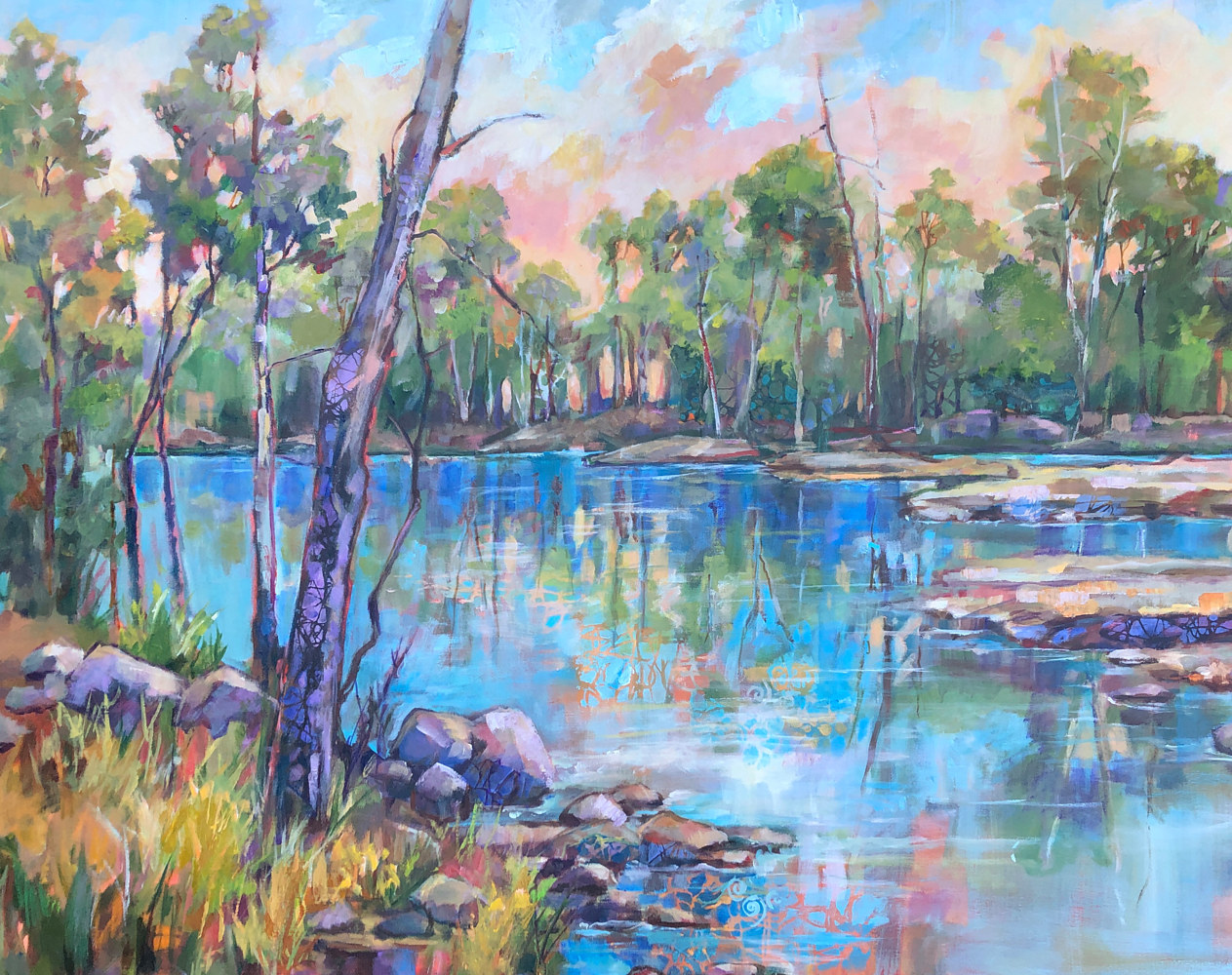 Acrylic painting DarbyCreek by Marty Husted