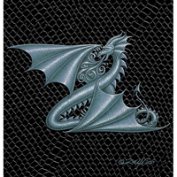 Dragon Z, silver 5x7 by Sue Ellen Brown