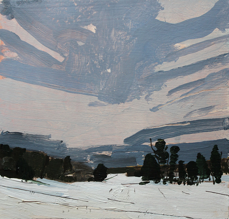 Acrylic painting North Field Dusk  by Harry Stooshinoff