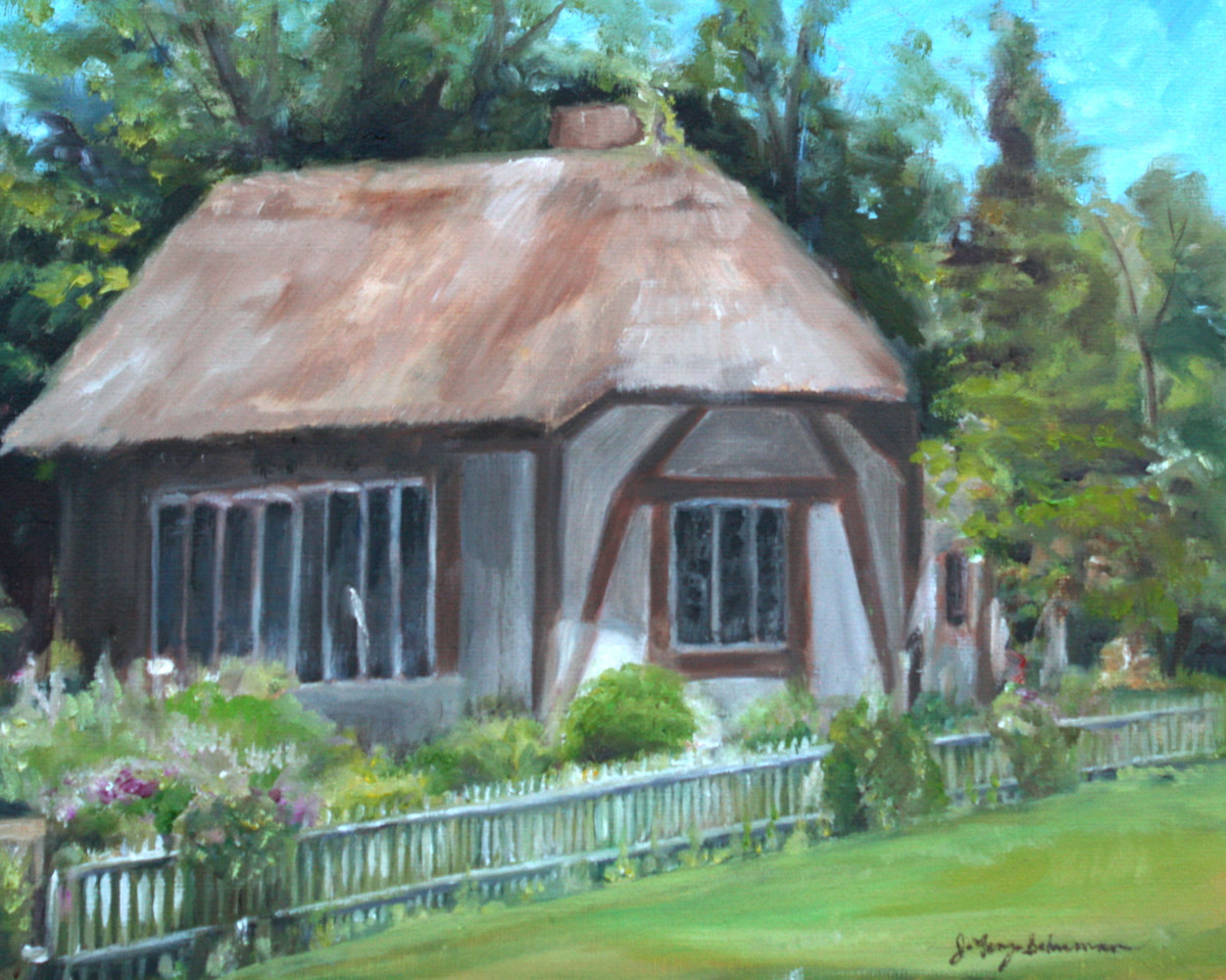Oil painting Thatched Cottage at Old Westbury by June Long-schuman