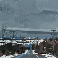 Acrylic painting Village Hills, January  by Harry Stooshinoff