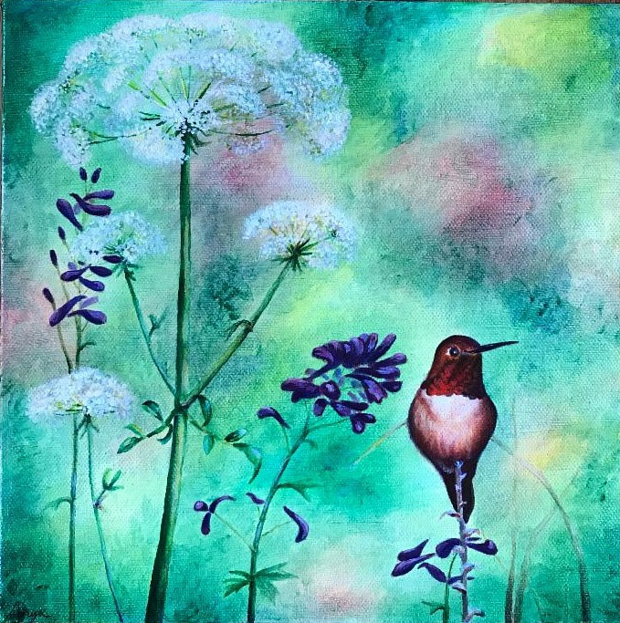 Hummingbird and Queen Anne's Lace by Anya Doll