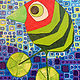 Acrylic painting Watermellon Bird with Lime Wheels by Donna Howard