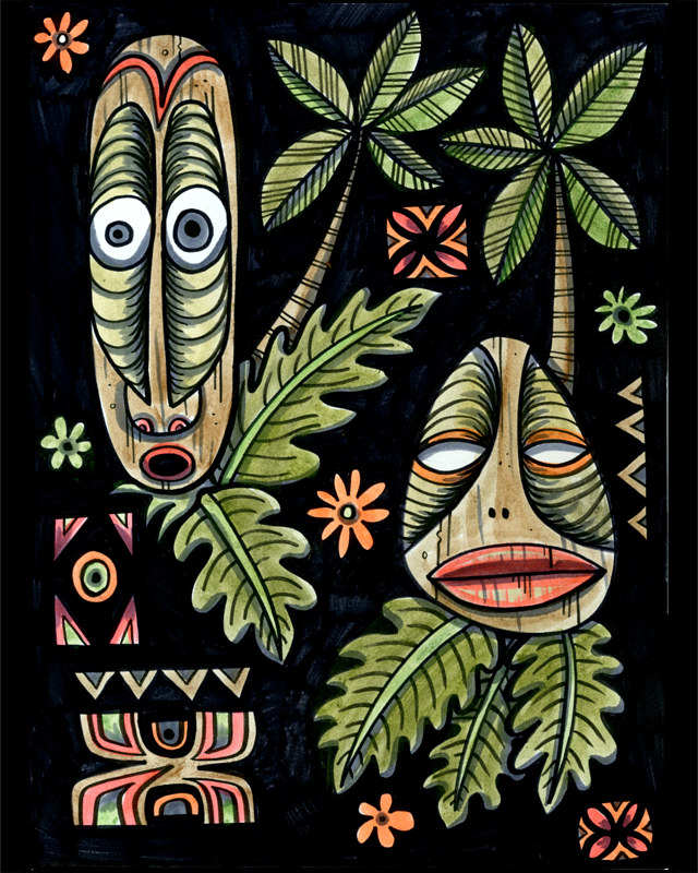 Watercolor Tiki Mask Tapa by Kenneth M Ruzic