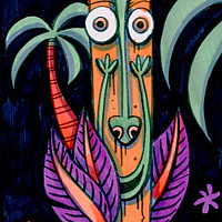 Watercolor Night of the Tikis by Kenneth M Ruzic