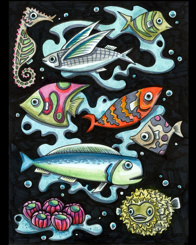Watercolor Fathoms of Fish by Kenneth M Ruzic