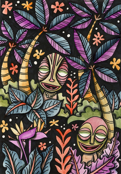 Watercolor Jungle Twins by Kenneth M Ruzic