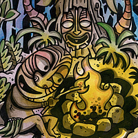 Watercolor A Fire for the Tree Mask by Kenneth M Ruzic