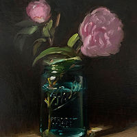 """Camellias in Vintage Ball Jar"" by Noah Verrier"