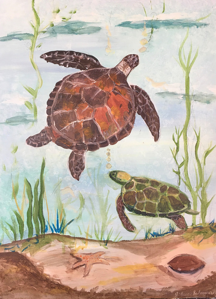 Acrylic painting Turtles final by June Long-schuman