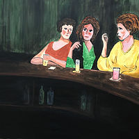 Acrylic painting Three friends at the bar by Bernard Scanlan