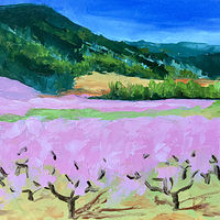 "Oil painting ""Chiles Peach Orchard"" by Anne French"
