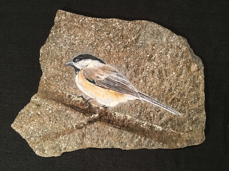Painting Black Capped Chickadee by James Lutzko
