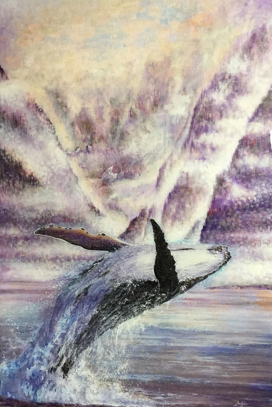 Acrylic painting Breaching Humpback by James Lutzko