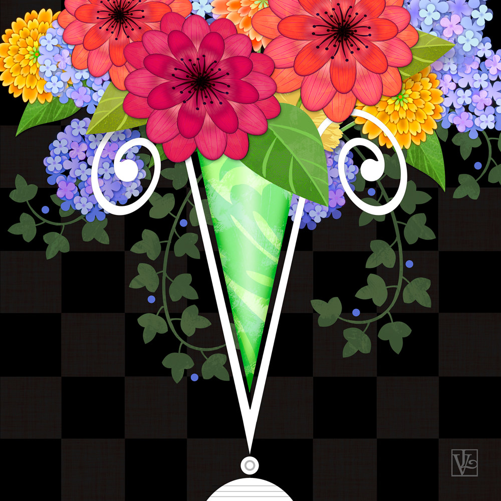 V for Vase of Various Flowers by Valerie Lesiak