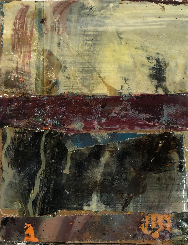 Mixed-media artwork Darkening Square #1 by Guy Grogan