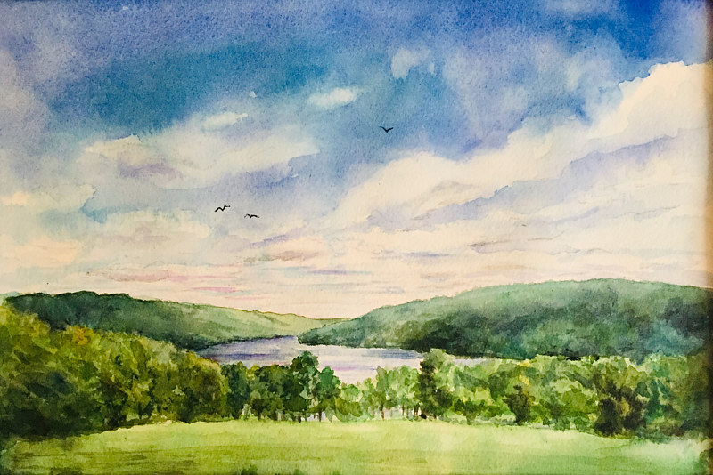 Watercolor Squantz Pond, New Fairfield, CT. by Elizabeth4361 Medeiros