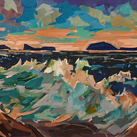 Evening Surf Acrylic 15x30 2019 by Brian  Buckrell