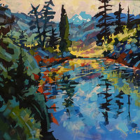 Strathcona Pond Reflection  Acrylic      2019 by Brian  Buckrell