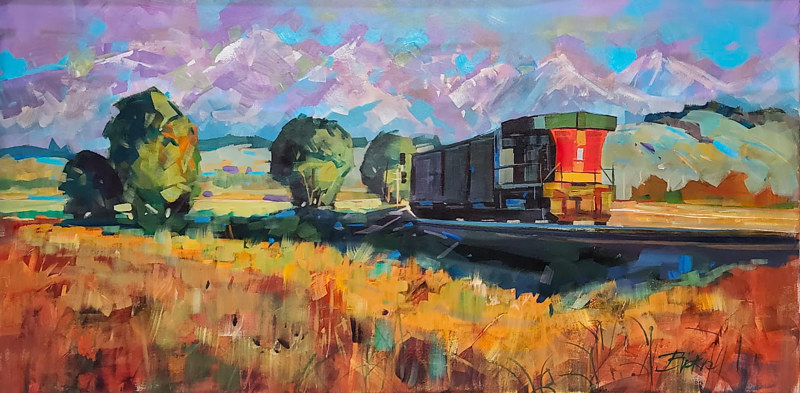 Heading West  Acrylic 24x48x1.5  2020 by Brian  Buckrell